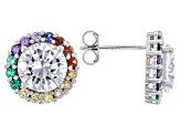Red/Blue/Green Nanocrystal & Multicolor Cubic Zirconia Rhodium Over Silver Earrings