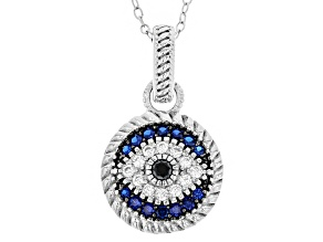 Lab Created Blue Spinel, Black & White Cubic Zirconia Rhodium Over Silver Pendant .86ctw