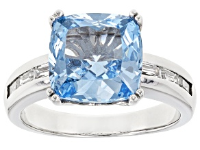 Synthetic Blue Spinel And White Cubic Zirconia Rhodium Over Sterling Silver Ring 5.87ctw