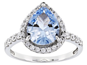 Synthetic Blue Spinel & White Cubic Zirconia Rhodium Over Sterling Silver Ring 3.22ctw