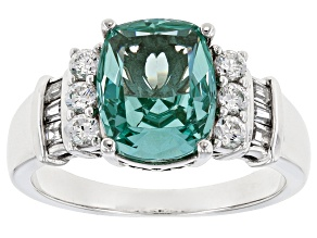Lab Created Green Spinel & White Cubic Zirconia Rhodium Over Sterling Silver Ring 4.07ctw