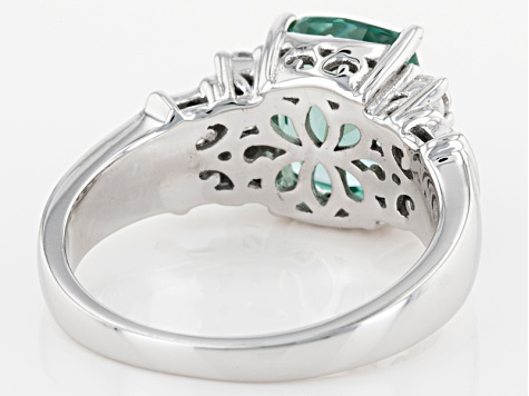 Synthetic Green Spinel & White Cubic Zirconia Rhodium Over Sterling Silver Ring 4.07ctw