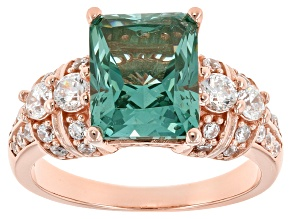 Lab Created Green Spinel & White Cubic Zirconia 18k Rose Gold Over Silver Ring 5.12ctw