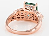 Synthetic Green Spinel & White Cubic Zirconia 18k Rose Gold Over Silver Ring 5.12ctw