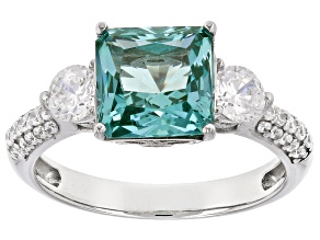 Lab Created Green Spinel & White Cubic Zirconia Rhodium Over Sterling Silver Ring 4.11ctw
