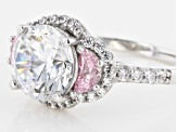 Bella Luce ® 6.19ctw Pink & White Diamond Simulants Rhodium Over Sterling Silver Ring
