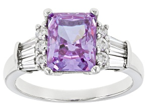 Purple And White Cubic Zirconia Rhodium Over Sterling Silver Ring 5.51ctw
