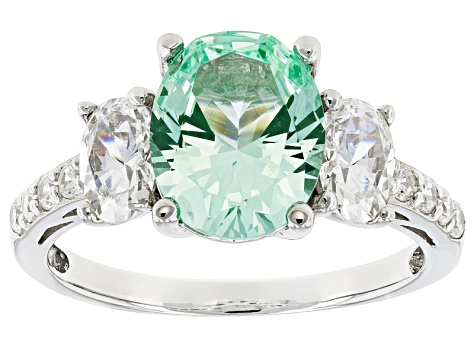 Synthetic Green Spinel & White Cubic Zirconia Rhodium Over Sterling Silver Ring 4.53ctw
