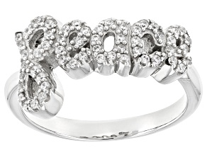 White Cubic Zirconia Rhodium Over Sterling Silver Ring .49ctw