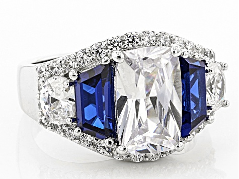 Blue And White Cubic Zirconia Rhodium Over Sterling Silver Ring 12.05ctw