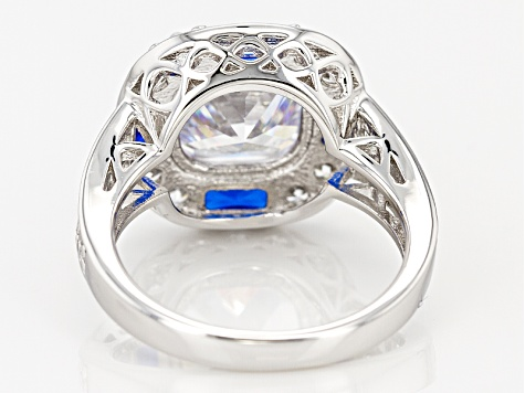 Blue And White Cubic Zirconia Rhodium Over Sterling Silver Ring 10.93ctw.