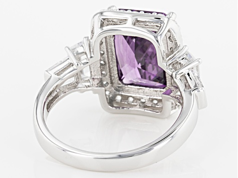 Purple And White Cubic Zirconia Rhodium Over Sterling Silver Ring 12.10ctw