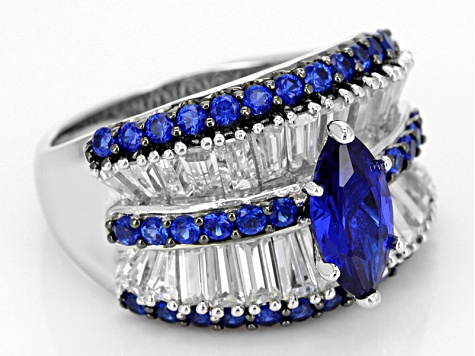 Lab Created Blue Spinel And White Cz Black And White Rhodium Over Sterling Ring 4.28ctw