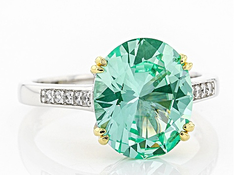 Lab Created Green Spinel And White Cubic Zirconia Rhodium Over Sterling Ring 4.65ctw