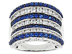Lab Created Blue Spinel And White Cz Black And White Rhodium Over Sterling Ring 3.26ctw