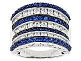 Blue Synthetic Spinel And White Cz Black And White Rhodium Over Sterling Ring 3.26ctw