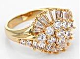 White Cubic Zirconia 18k Yellow Gold Over Sterling Silver Ring 3.66ctw