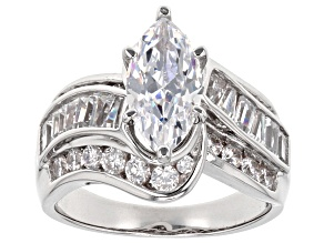 White Cubic Zirconia Rhodium Over Sterling Silver Ring 4.69ctw