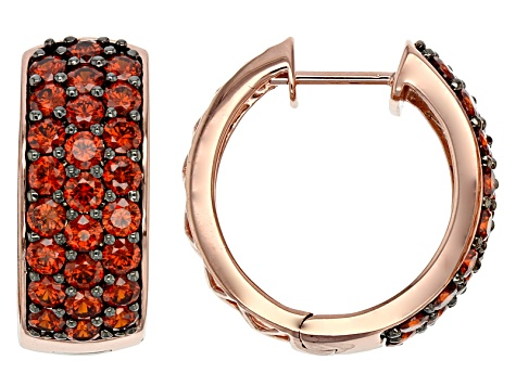 Red Cubic Zirconia 18k Rose Gold Over Sterling Silver Earrings 5.80ctw