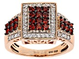 Red And White Cubic Zirconia 18k Rose Gold Over Sterling Silver Ring 2.27ctw