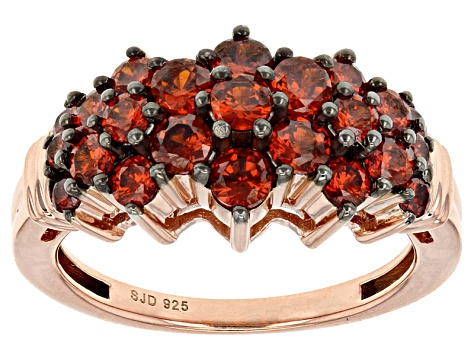 Red Cubic Zirconia 18k Rose Gold Over Sterling Silver Ring 3.05ctw