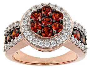 Red And White Cubic Zirconia 18k Rose Gold Over Sterling Silver Ring 3.56ctw