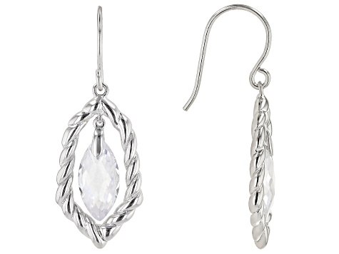 White Cubic Zirconia Rhodium Over Sterling Silver Earrings 8.44ctw