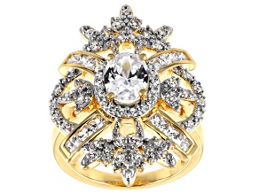 White Cubic Zirconia 18k Yellow Gold Over Sterling Silver Ring 3.95ctw