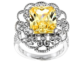 Canary and White Cubic Zirconia Rhodium Over Sterling Silver Ring 12.68ctw