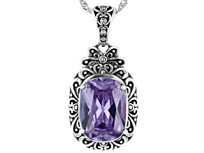 Purple Cubic Zirconia Rhodium Over Sterling Silver Pendant With Chain 13.70ctw