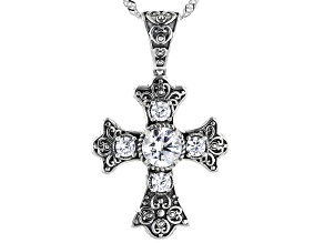White Cubic Zirconia Rhodium Over Sterling Silver Cross Pendant With Chain 2.04ctw