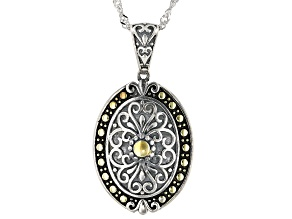 Rhodium Over Sterling Silver With 14K Yellow Gold Accent Plating Pendant With Chain