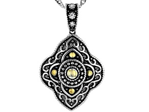 White Cubic Zirconia Rhodium Over Sterling Silver Pendant With Chain 0.03ctw
