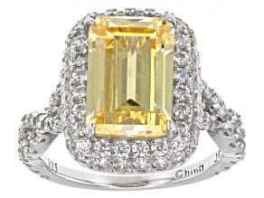 Yellow And White Cubic Zirconia Rhodium Over Sterling Silver Ring 9.99ctw