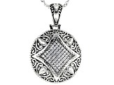 White Cubic Zirconia Rhodium Over Sterling Silver Pendant With Chain 0.70ctw