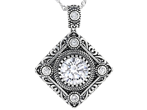 White Cubic Zirconia Rhodium Over Sterling Silver Pendant With Chain 4.73ctw