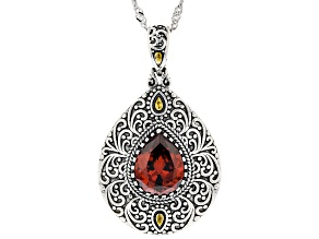 Red Cubic Zirconia Rhodium Over Sterling Silver Pendant With Chain 3.98ctw