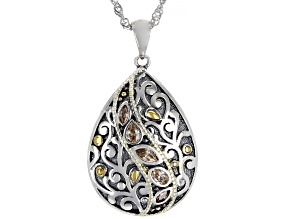 Champagne Cubic Zirconia Rhodium Over Sterling Silver Pendant With Chain 0.73ctw