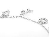 White Cubic Zirconia Rhodium Over Sterling Silver Dragonfly and Mixed Shape Charm Bracelet 4.69ctw