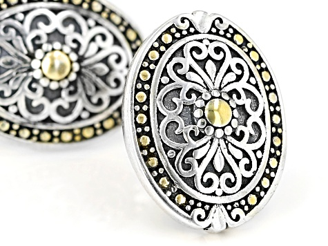 Rhodium Over Sterling Silver With 14K Yellow Gold Accent Plating Earrings