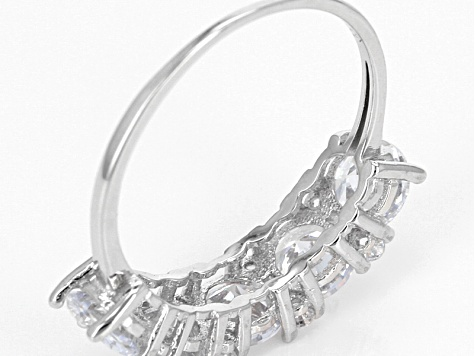 White Cubic Zirconia Rhodium Over Sterling Silver Adjustable Bracelet And Ring 10.02ctw