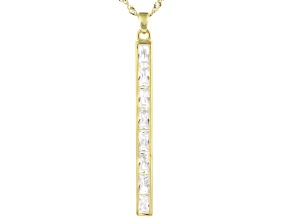 White Cubic Zirconia 18K Yellow Gold Over Sterling Silver Pendant with Chain 3.99ctw