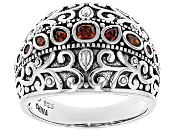 Picture of Red Cubic Zirconia Rhodium Over Sterling Silver Ring 1.07ctw