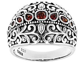 Red Cubic Zirconia Rhodium Over Sterling Silver Ring 1.07ctw
