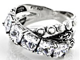 White Cubic Zirconia Rhodium Over Sterling Silver Ring 3.71ctw