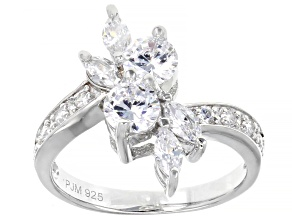White Cubic Zirconia Rhodium Over Sterling Silver Ring 2.95ctw