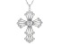 White Cubic Zirconia Rhodium Over Sterling Silver Cross Pendant With Chain 4.44ctw
