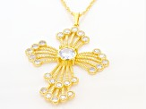 White Cubic Zirconia 18K Yellow Gold Over Sterling Silver Cross Pendant With Chain 4.44ctw