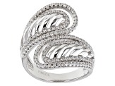 White Cubic Zirconia Rhodium Over Sterling Silver Ring 1.30ctw