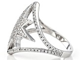 White Cubic Zirconia Rhodium Over Sterling Silver Star Ring 1.34ctw